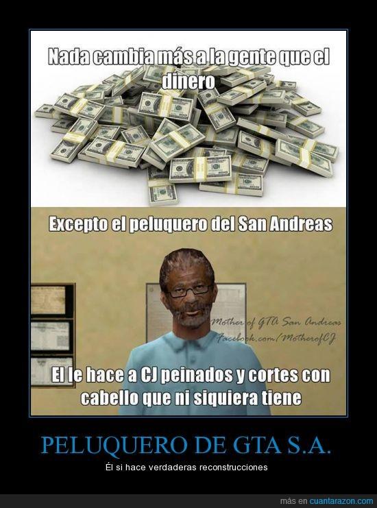 cambio,dinero,gta san andreas,mentira,peluquero