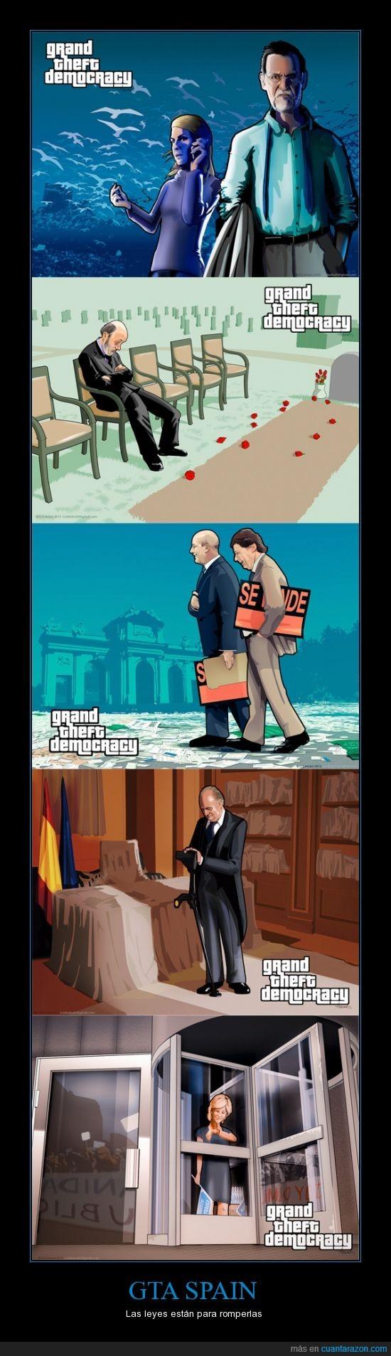 aguirre,cospedal,daniel s,grand theft auto,grand theft democracy,rajoy,videojuego