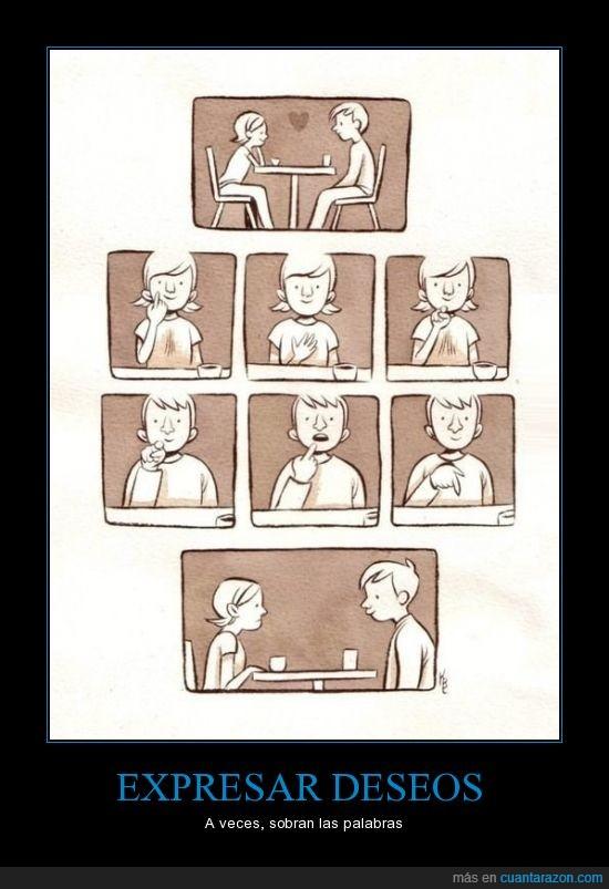bajar,boca,comer,deseo,gestos,hombre,palabras