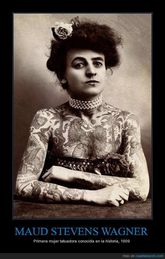 Maud Stevens Wagner,mirada perdida,primera,tatuadora,tatuaje