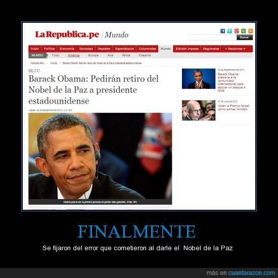error,nobel,Obama,paz,quitar,siria