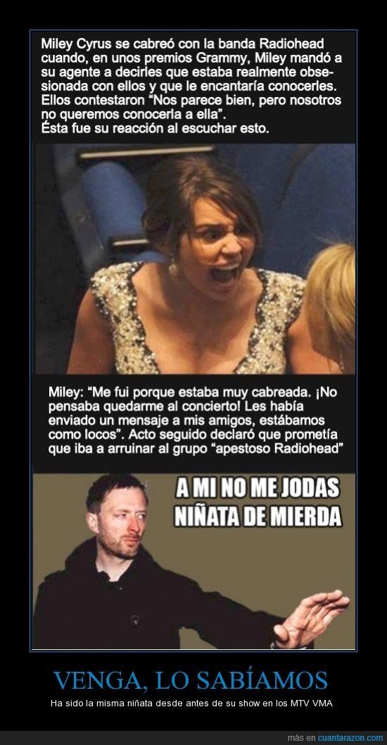 Miley Cyrus,MTV,Radiohead,Thom Yorke