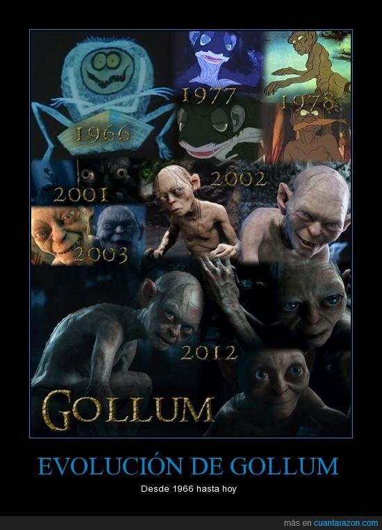 1966,2012,2013,anillos,de,el,evolucion,gollum,hobbit,los,señor