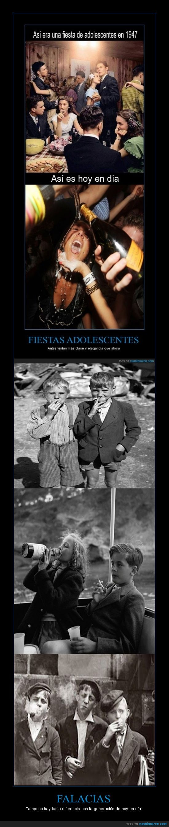 alcohol,antes era igual o peor,beber,falacia,fumando,juventud,niños