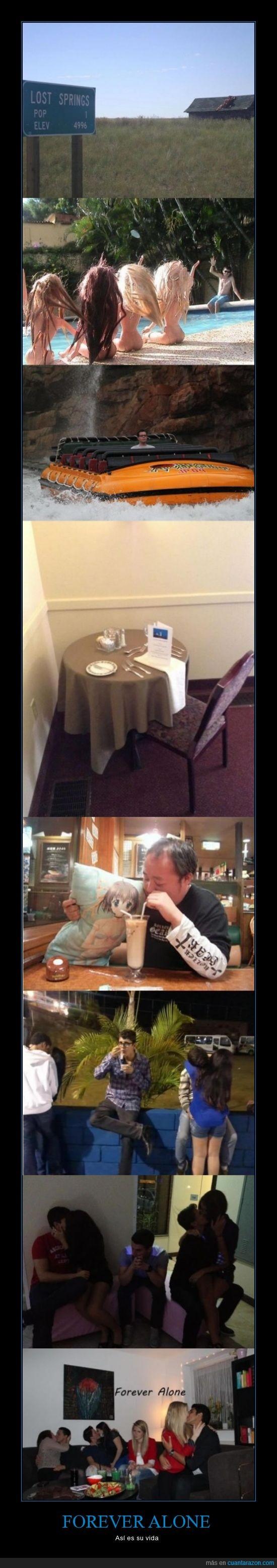 forever alone,mesa,novio,pareja,restaurante,solo,soltero