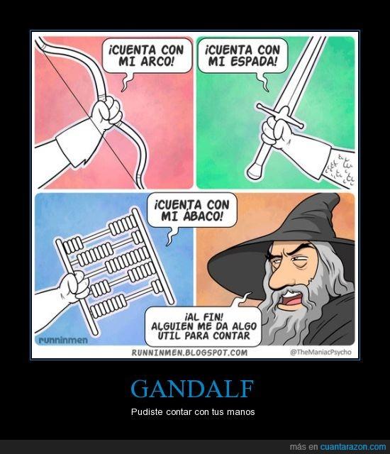 abaco,arco,espada,Gandalf,matematicas,señor de los anillos
