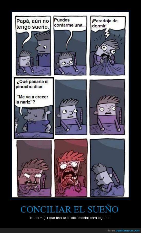cuento,dormir,explosion mental,locura,nariz,niño siniestro,paradoja,pinocho,sueño