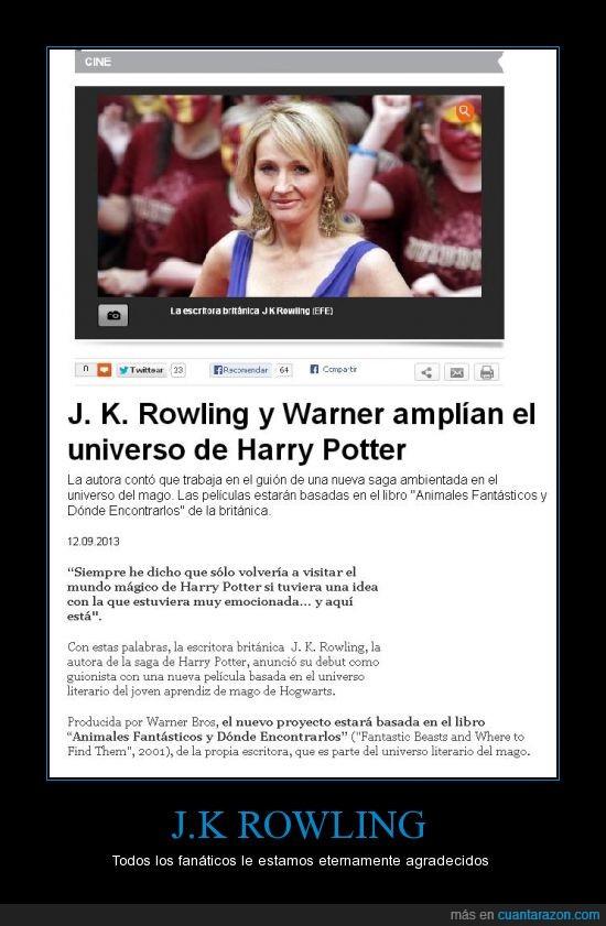 harry potter,jk rowling,nueva,pelicula,universo