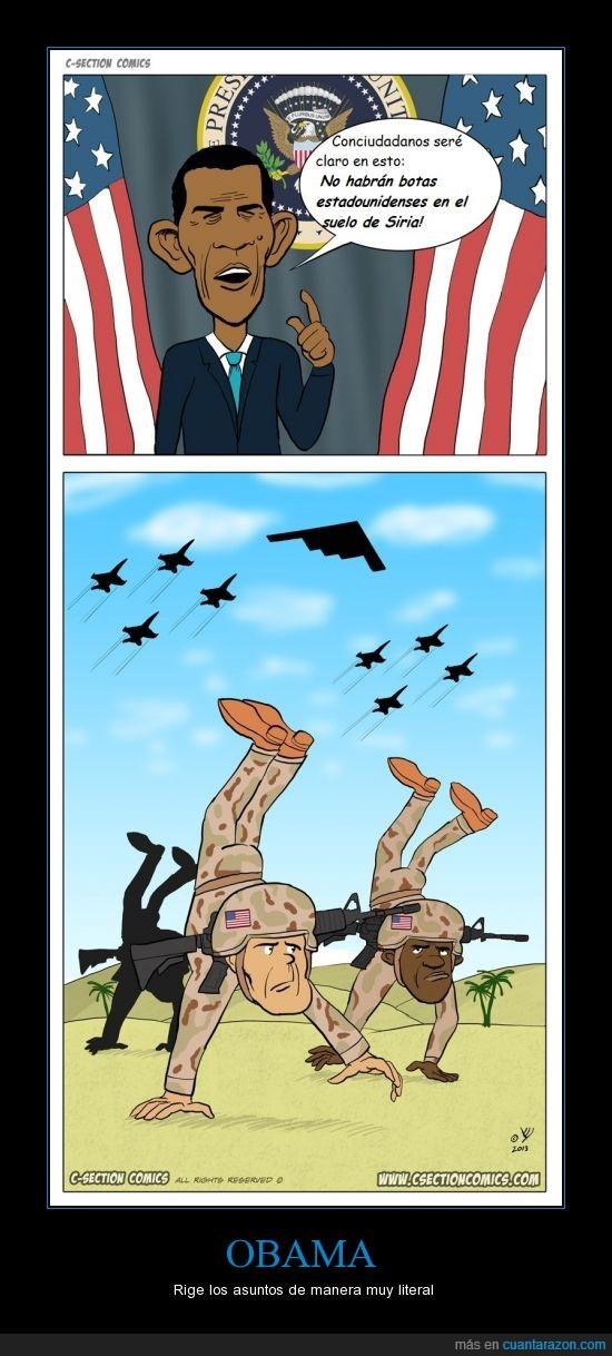 botas,cómic,Estados Unidos,guerra,Obama,pie,pino,Siria,soldado,suelo