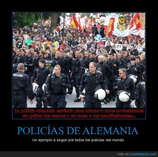 alemania,ejemplo,foto,manifestacion,mundo,policias,quitar,real,seguir,unir