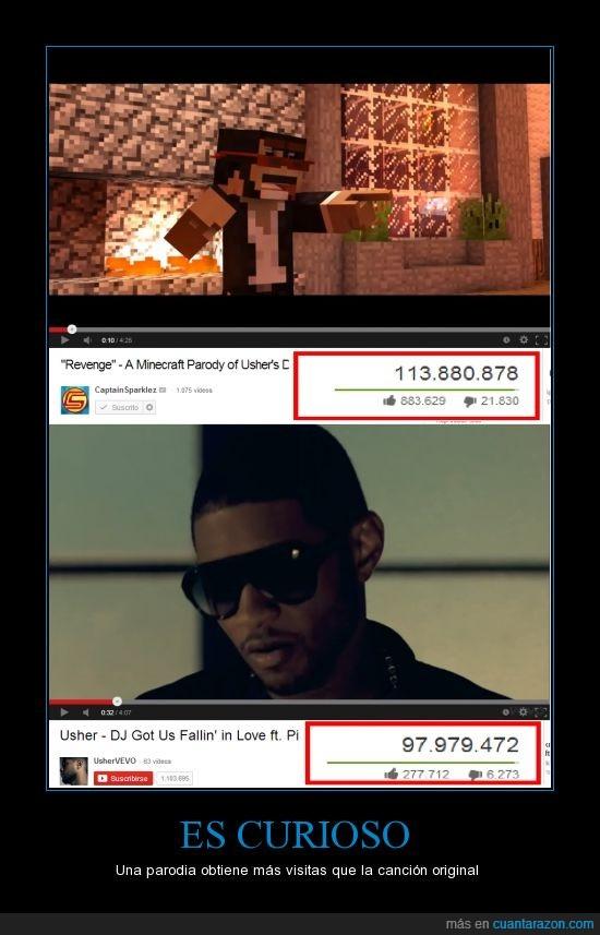 canción,CaptainSparklez,el primer video hace 2 años,el segundo hace 3 años,Minecraft,música,Pitbull,TryHardNinja,Usher,visitas,Youtube