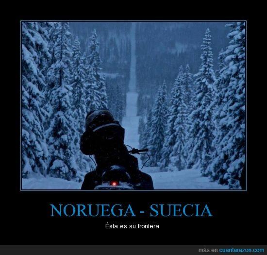 frontera,moto,nieve,noruega,pinos,suecia
