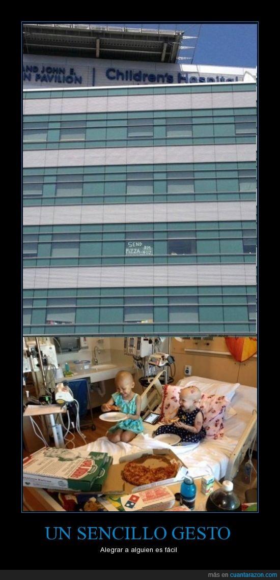 enfermitos,fe en la humanidad 100%,felicidad,hospital infantil,pizza