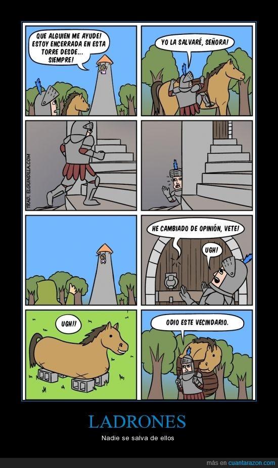 caballero,caballo,ladrones,princesa,torre