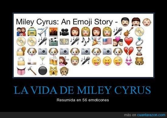 Cyrus,Emoticones,Miley,Resumen,Vida