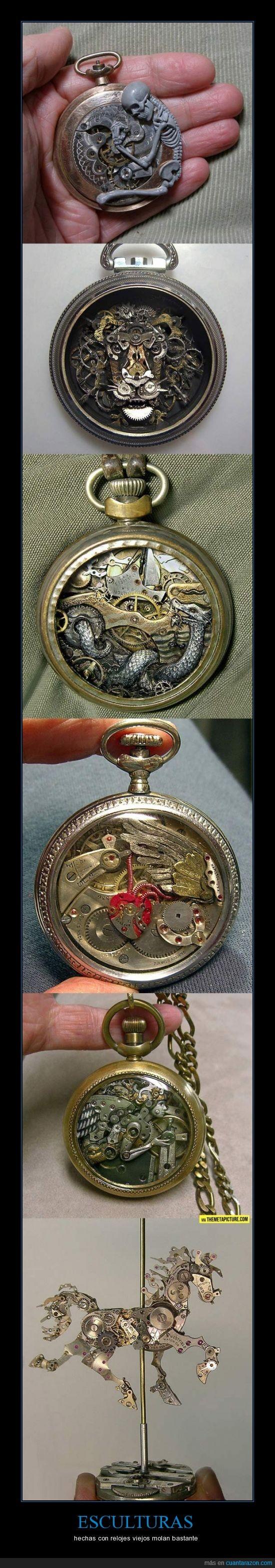 animales,bolsillo,esculturas,esqueleto,metal,relojes