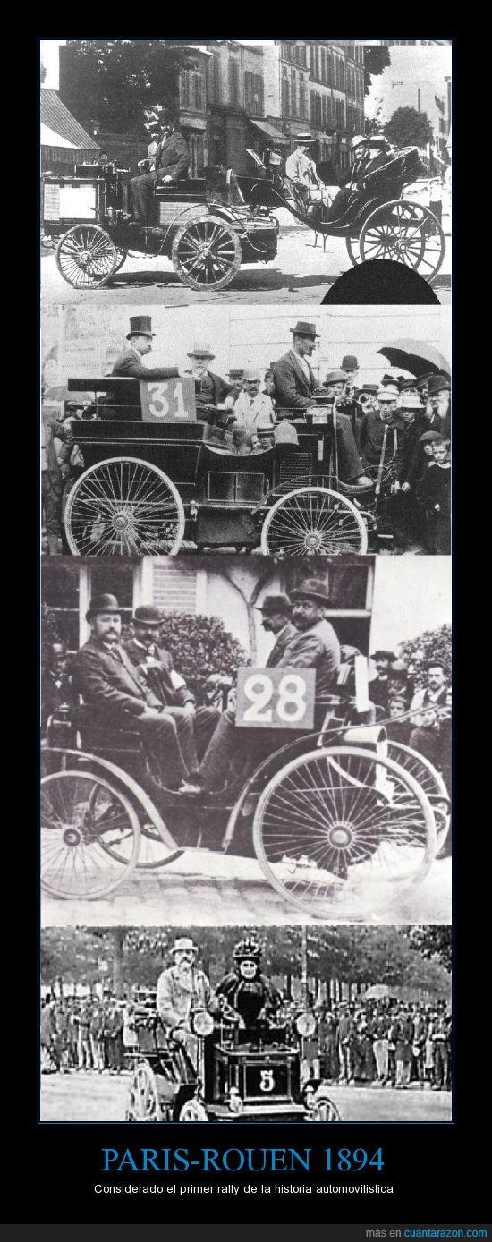 a 25 km/h max,en esa época volaban,historia,paris,peugeot,primer rally,rally,renault,rouen