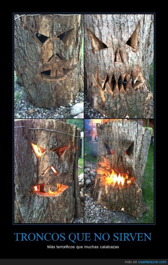 arbol,cara,carve,dentro,fuego,halloween,ojos,tronco