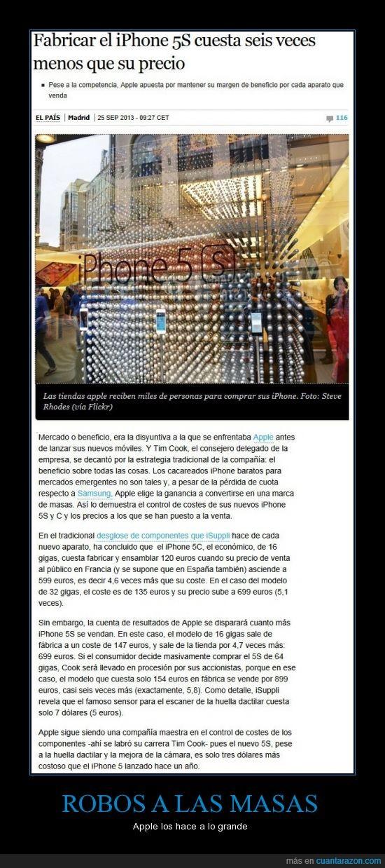 50 euros y el del Iphone 4 es 142 euros,apple,costo de fabricación del Galaxy S3 es 15% mas caro que el Iphone 4,el coste de fabricación del iphone 5 es de 167,iphone,iphone 5s,robo,Steve Jobs tambíen robaba