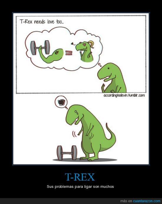 brazo,coger,corto,dinosaurio,gimnasio,musculo,pesa,rex
