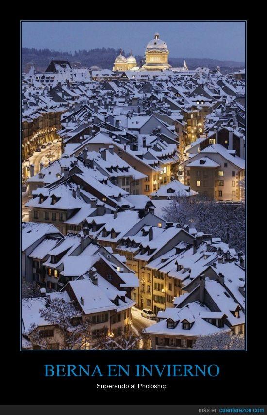 belleza,Berna,nevada,nieve,noche,Suiza,tejado