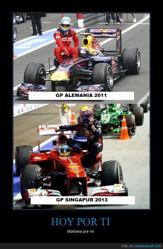 Amigos,Fernando Alonso,Ferrari,Formula 1,GP Alemania 2011,GP Singapur 2013,Mark Webber,Red Bull