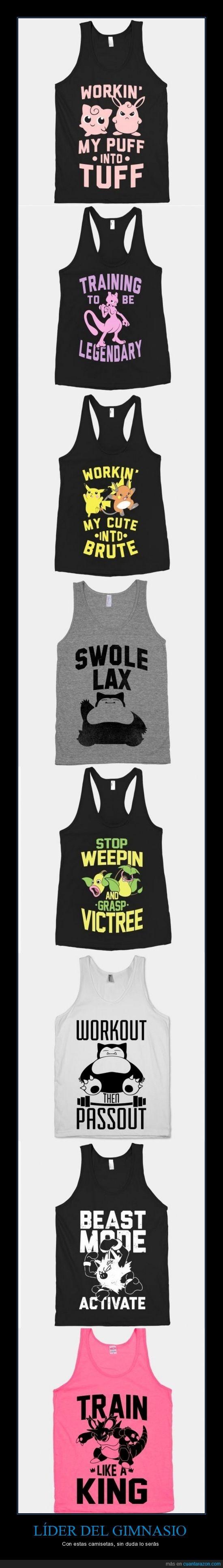 camisetas,entrenar,gimnasio,pokemon