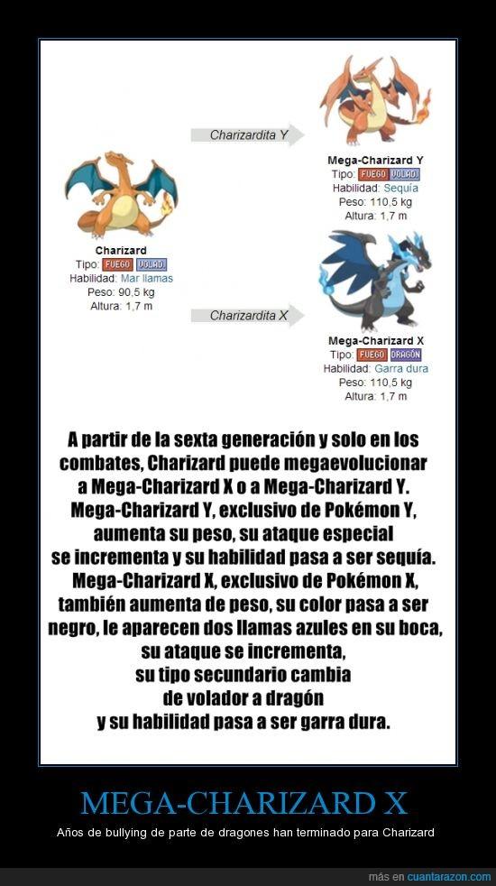Charizard X,exclusivo de pokemon X,justo cuando unas haditas le parten la cara a los dragons pero mejor tarde que nunca XD,megaevolucion