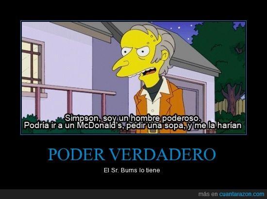 amarillo,McDonalds,señor Burns,Simpsons,sopa,verdadero poder