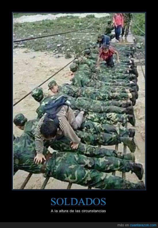 colgante,emergencia,inundación,niño,puente,río,salvar,soldado