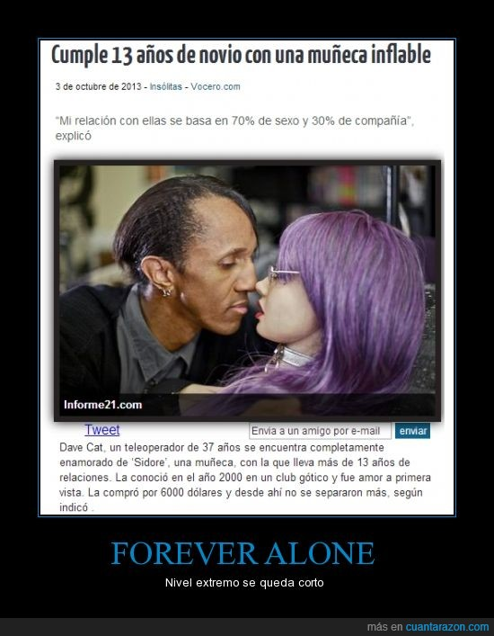 forever alone,inflable.novio,insolitas,muñecas,noticias