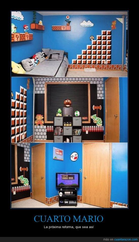 cuarto,gamer,habitación mario,pantalla,pintar,reform,videojuego