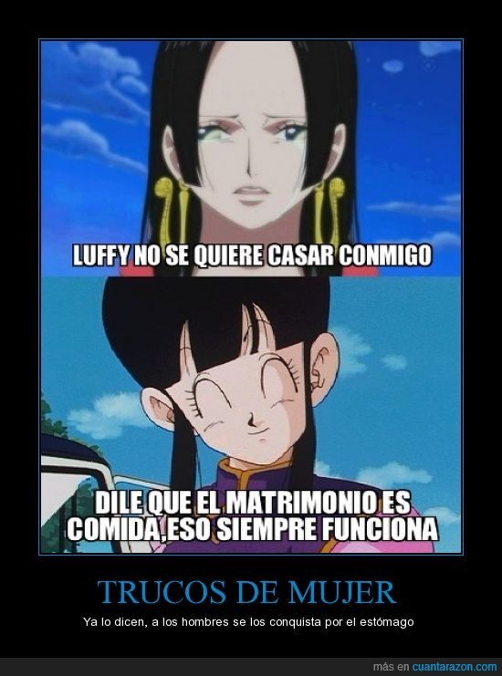 chi chi,comida,DBZ,dragon ball,goku,luffy,matrimonio,milk,one piece