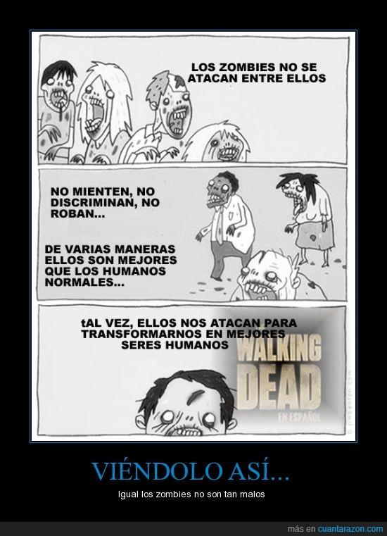 atacar,discriminar,humanos,juzgar,mentir,Pero igual sus mordidas duelen,Walking dead,zombies
