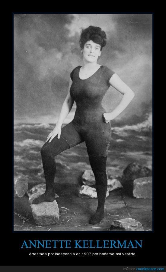 Annette Kellerman,arrestada,indecencia,nadadora,traje de baño