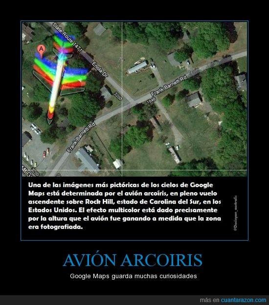 alas,altura,Arcoiris,Avión,Google Maps,mapa