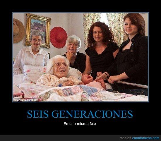 111 años,16 años,39 años,7 semanas,70 años,88 años,abuela,bisabuela,hija,madre,tatara abuela,tatara tatara abuela