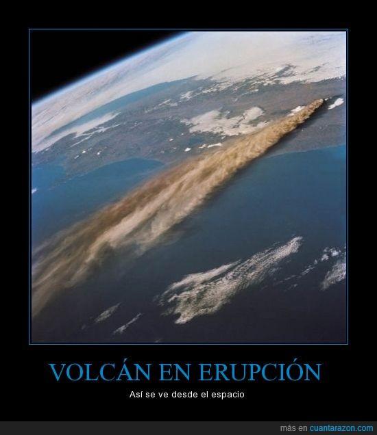 erupcion,espacio,humo,volcan