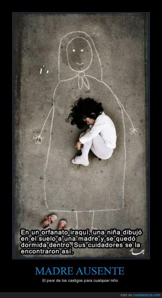 dibujo,dormida,niña,orfanato,suelo