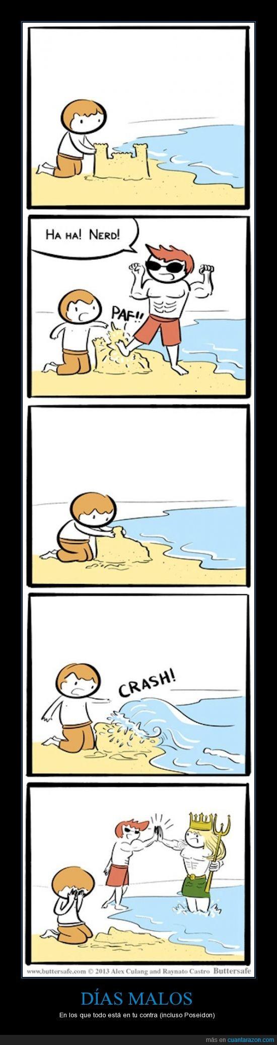arena,bully,castillo,malo,nerd,playa,poseidón