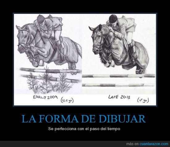 2009,2013,caballo,cambio,dibujo,ginete,perfeccion
