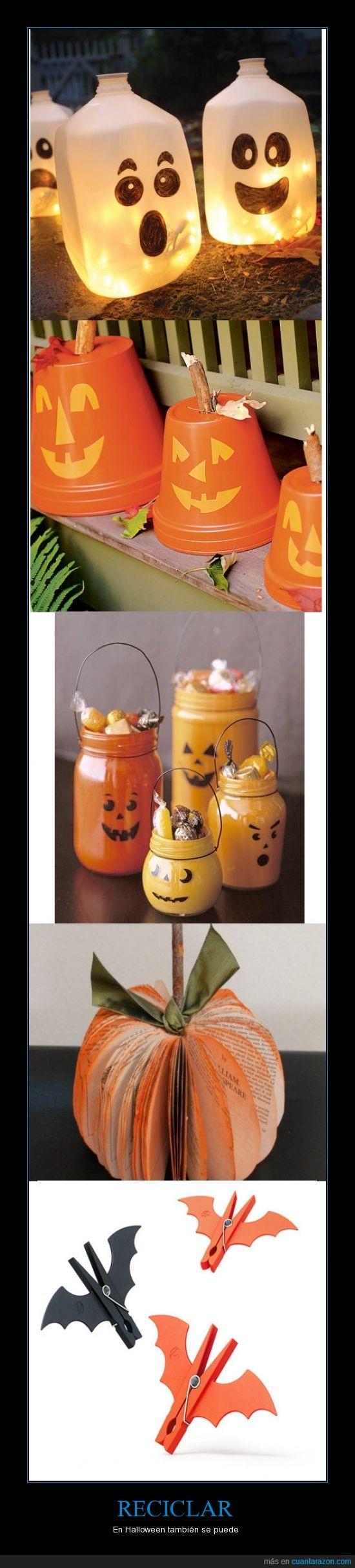 ambiente,botella,calabazas,fantasma,halloween,pinza,reciclar