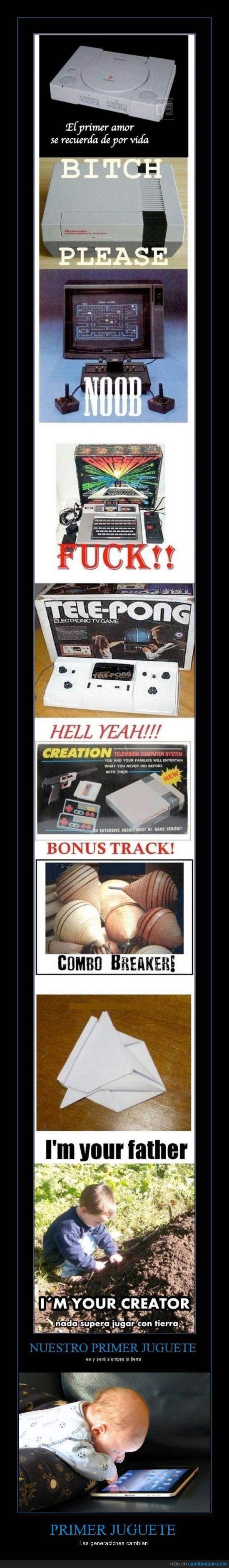 consolas,ipad,juegos,juguete,niños,papel,playstation,tele-pong,tierra,trompo