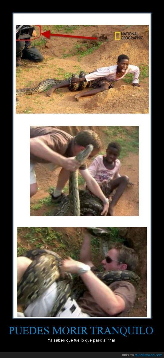 atacar,ayudar,camara,foto,niño,salvar,serpiente