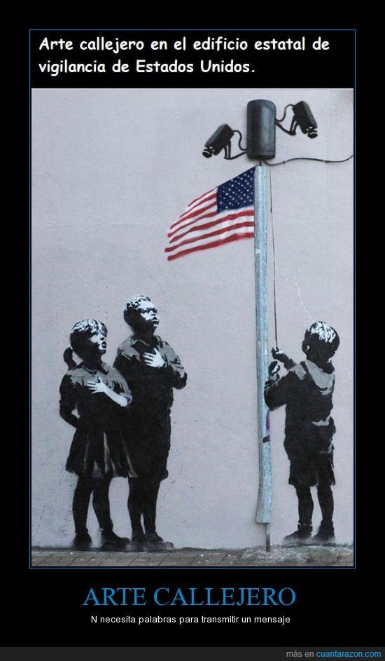 arte,callejero,eeuu,el que lo hizo debe ser un ninja xDD,expresion,medio,mensaje,niños,vigilancia