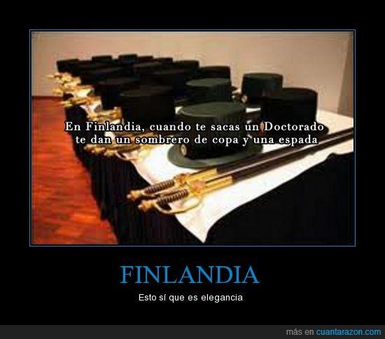 copa,diploma,doctorado,espada,finlandia,sombrero,titulo