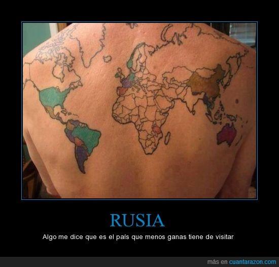 dolor,lugar,mapa mundi,mundial,país,rusia,tatuaje,tatuar,visitar
