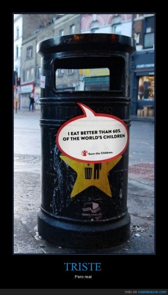 basura,cartel,comer,desperdiciar,mejor,niños,papelera,pobreza,tirar