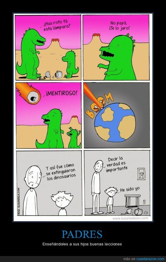 dinosaurios,jarron,lampara,mentir,mentiras,niño,padres,romper