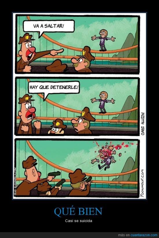 disparar,matar,policia,puente,saltar,suicida